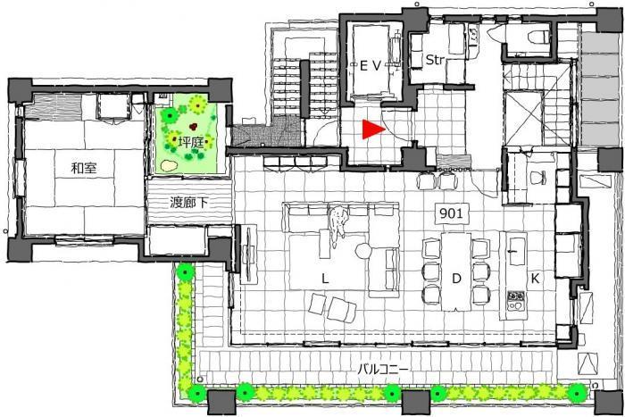 住 真田山・9階平面図