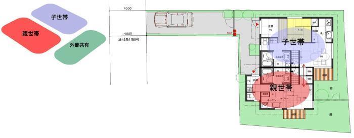 世帯分離型 平面分離型(タウンハウス型)