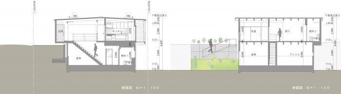 道路寺の家・断面図