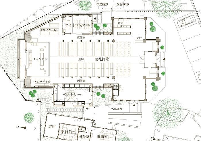 三光教会の平面図