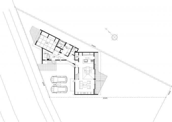 白河の家・1階平面図