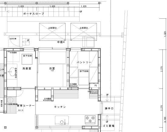 回廊の家/岡崎・パントリー・平面図