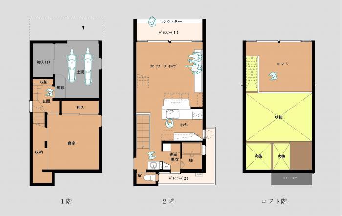 「小石川植物園に向き合うローコスト住宅」の間取り図