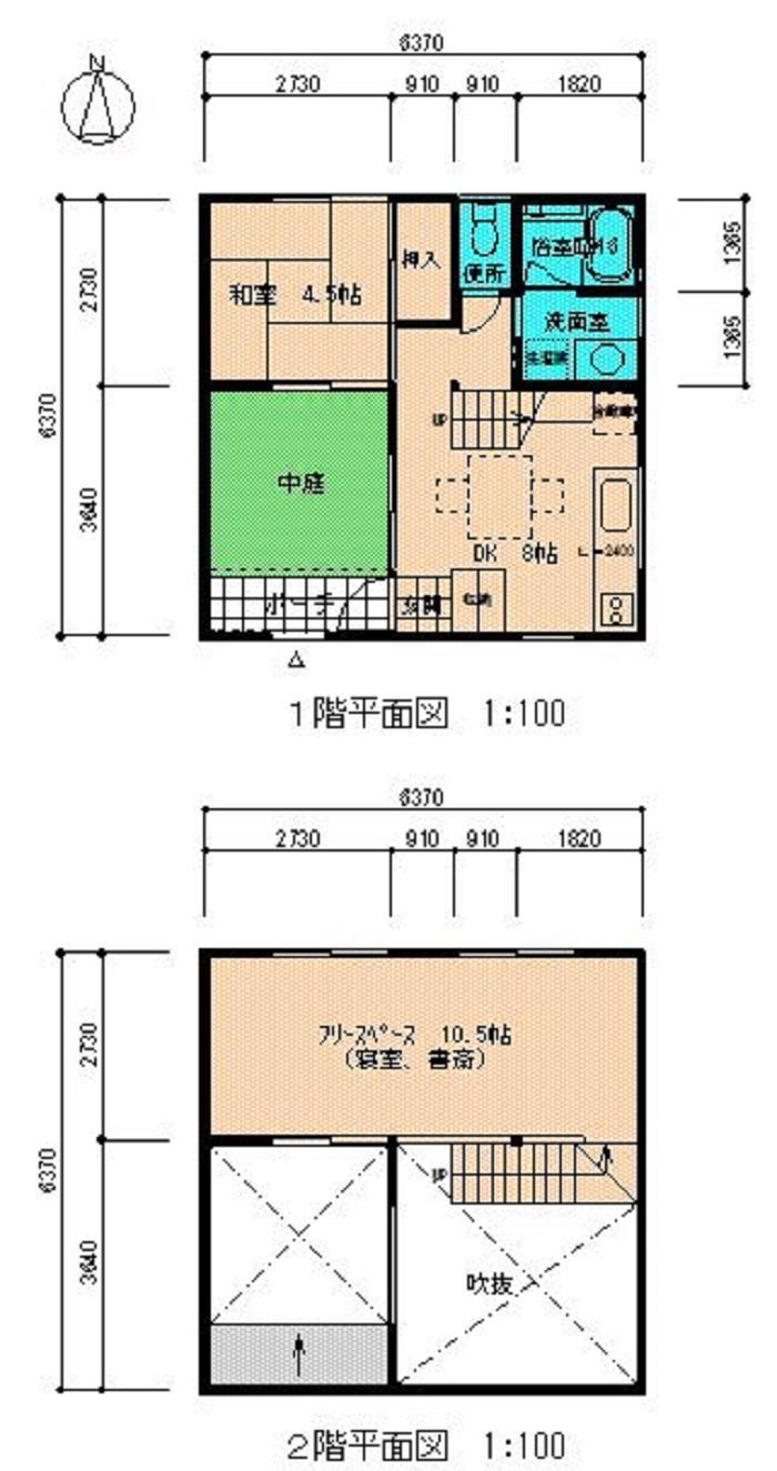 中庭を取り入れた住宅・平面図