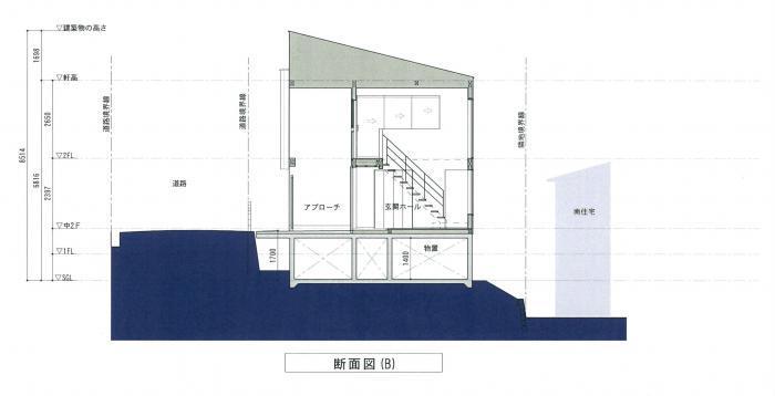 逆瀬川のリゾートハウス・玄関・断面図