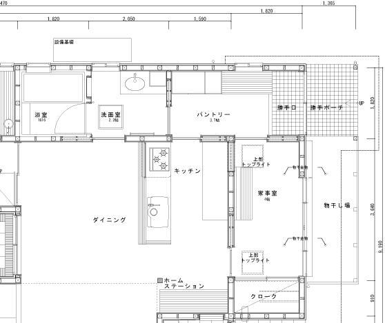 下山の光庭の家/豊田・パントリー・平面図