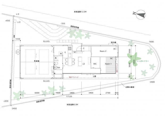 高台の家・間取り図